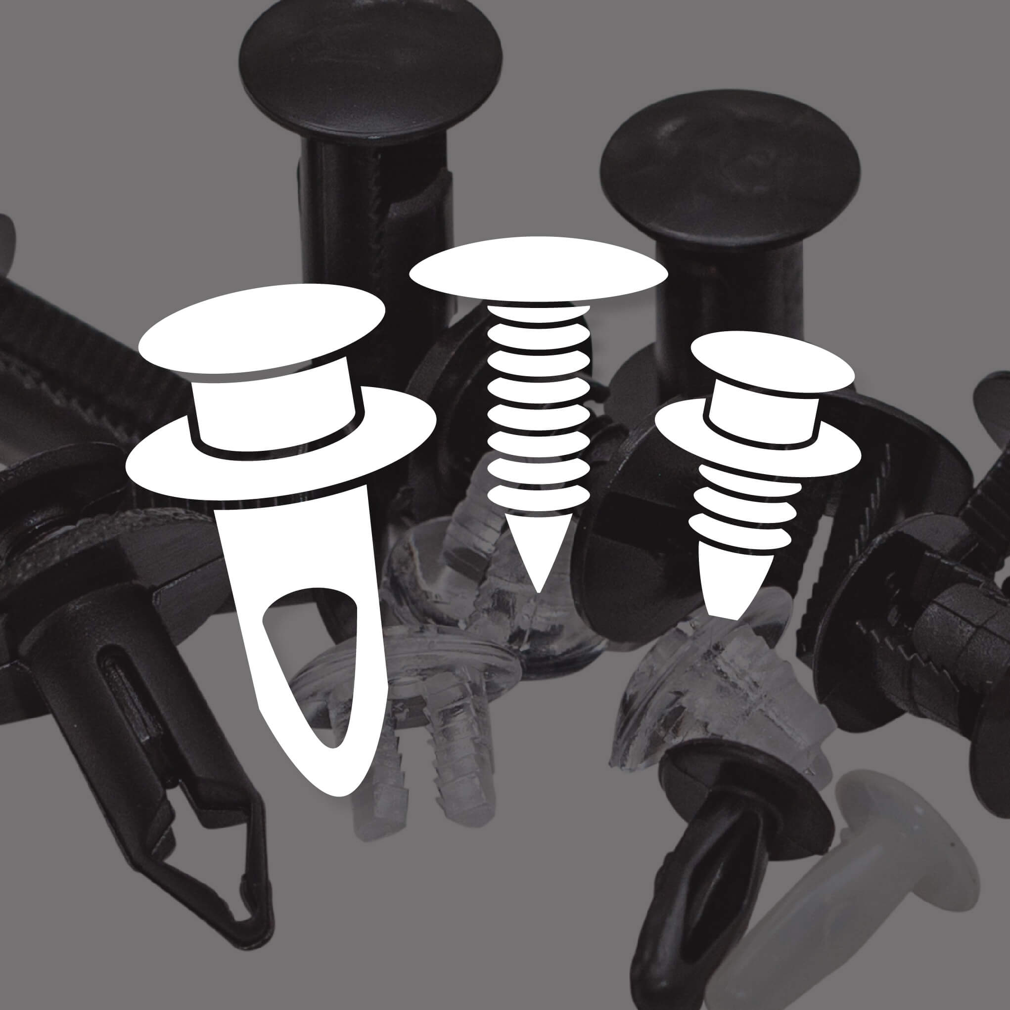 black and white fasteners