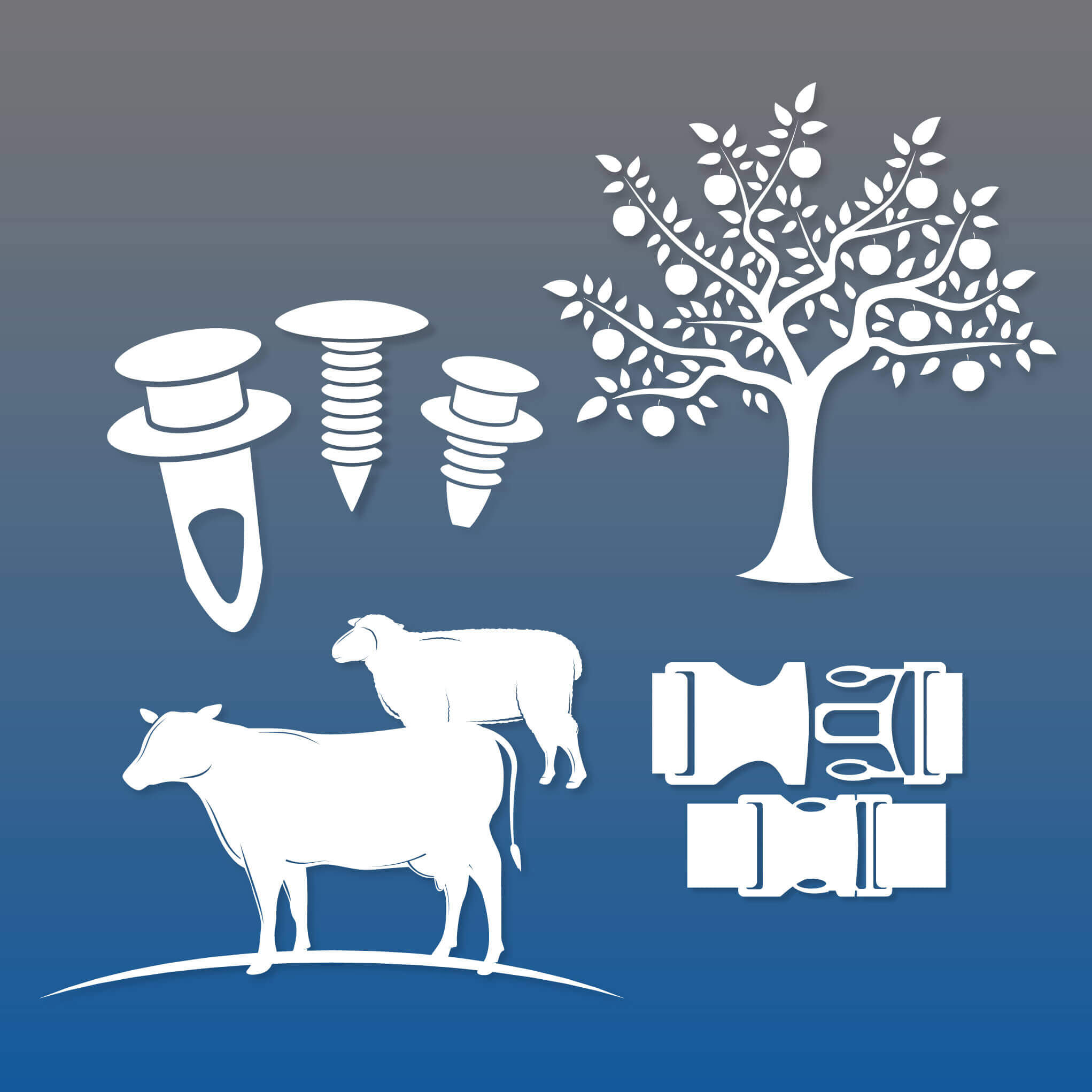 clips, grommets, fruit trees and cows icons