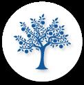 blue and white fruit tree icon